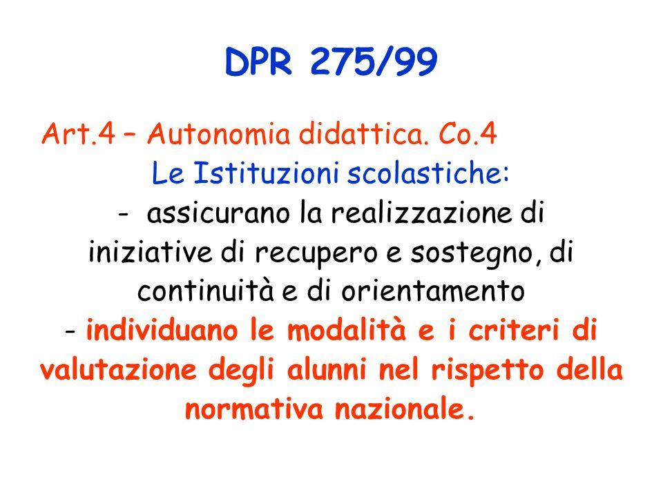 DPR 275/99 Art.4 – Autonomia didattica. Co.4 Le Istituzioni scolastiche: - assicurano la realizzazione di iniziative di recupero e sostegno, di contin