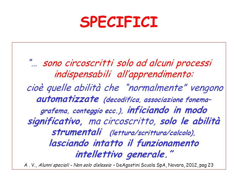 SPECIFICI … sono circoscritti solo ad alcuni processi indispensabili allapprendimento: cioè quelle abilità che normalmente vengono automatizzate (deco