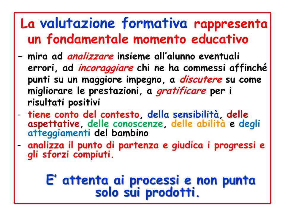 La valutazione formativa rappresenta un fondamentale momento educativo - mira ad analizzare insieme allalunno eventuali errori, ad incoraggiare chi ne