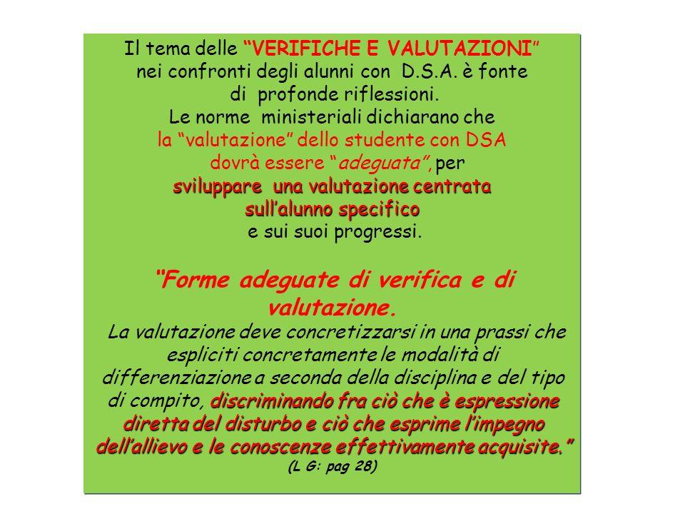 Il tema delle VERIFICHE E VALUTAZIONI nei confronti degli alunni con D.S.A.