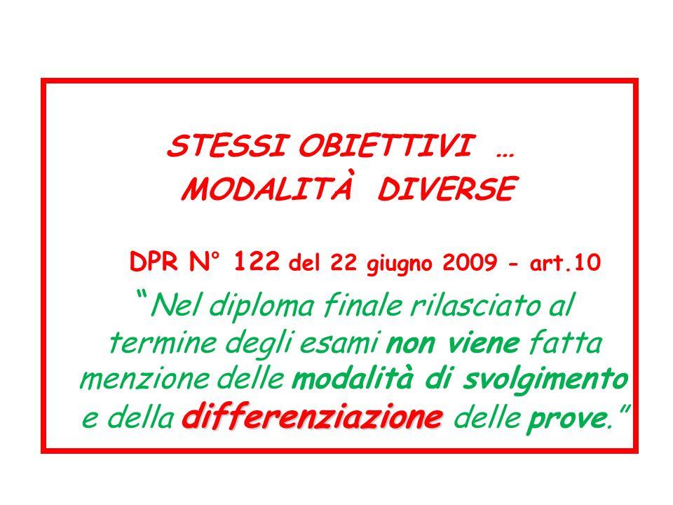 STESSI OBIETTIVI … MODALITÀ DIVERSE DPR N° 122 del 22 giugno 2009 - art.10 differenziazione Nel diploma finale rilasciato al termine degli esami non v
