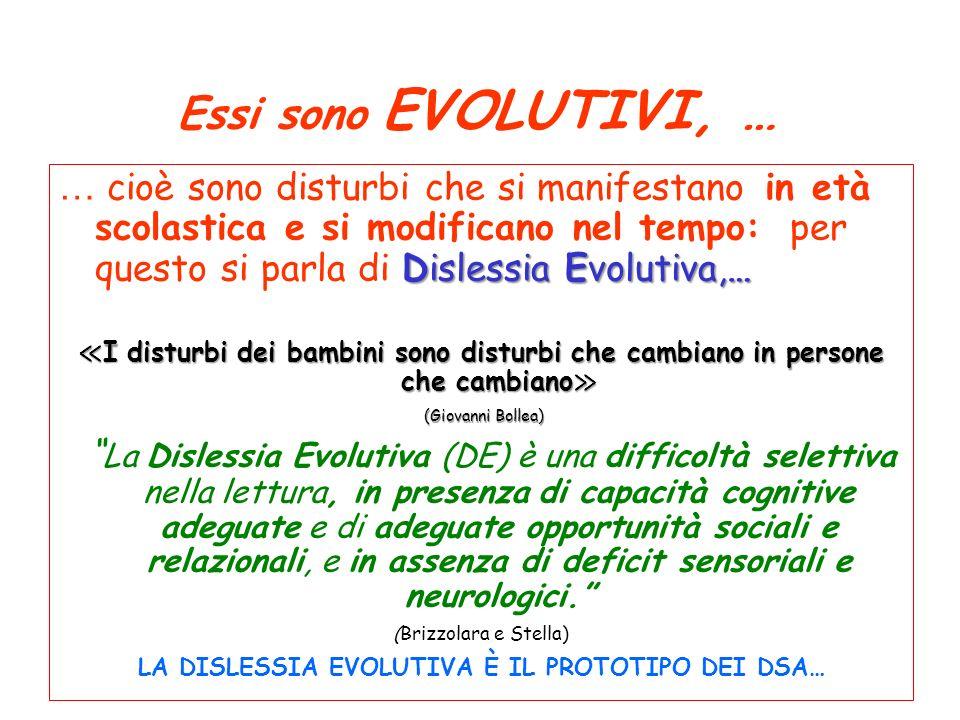Essi sono EVOLUTIVI, … Dislessia Evolutiva,… … cioè sono disturbi che si manifestano in età scolastica e si modificano nel tempo: per questo si parla