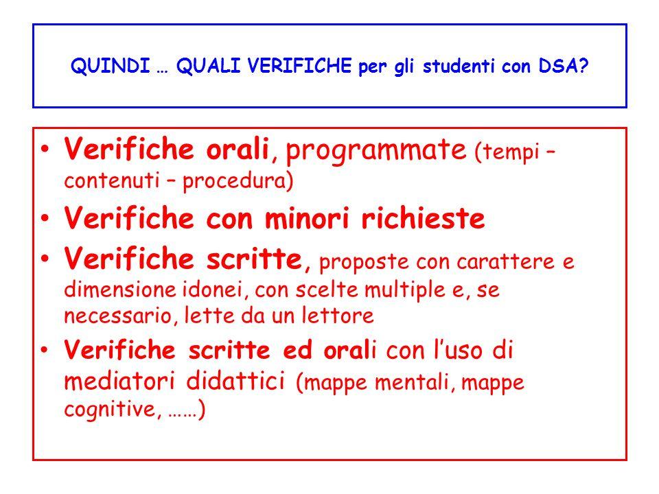 QUINDI … QUALI VERIFICHE per gli studenti con DSA? Verifiche orali, programmate (tempi – contenuti – procedura) Verifiche con minori richieste Verific