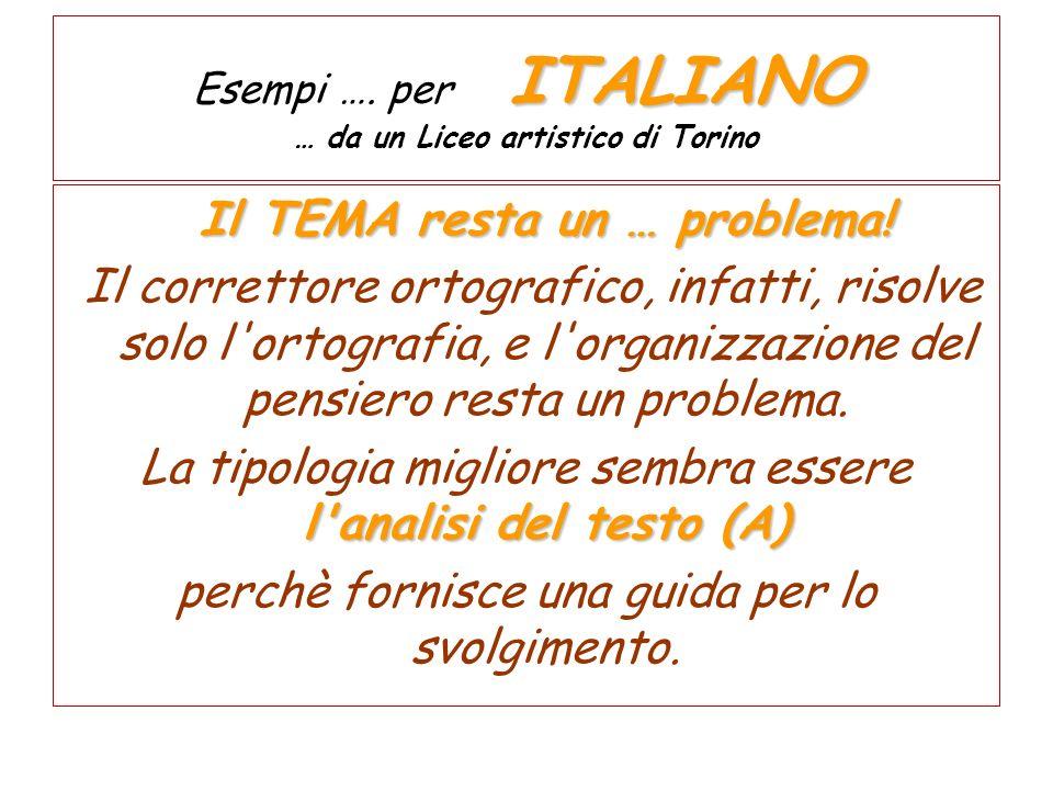ITALIANO Esempi …. per ITALIANO … da un Liceo artistico di Torino Il TEMA resta un … problema! Il correttore ortografico, infatti, risolve solo l'orto