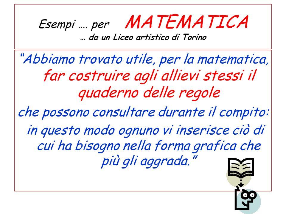 Esempi …. per MATEMATICA … da un Liceo artistico di Torino Abbiamo trovato utile, per la matematica, far costruire agli allievi stessi il quaderno del