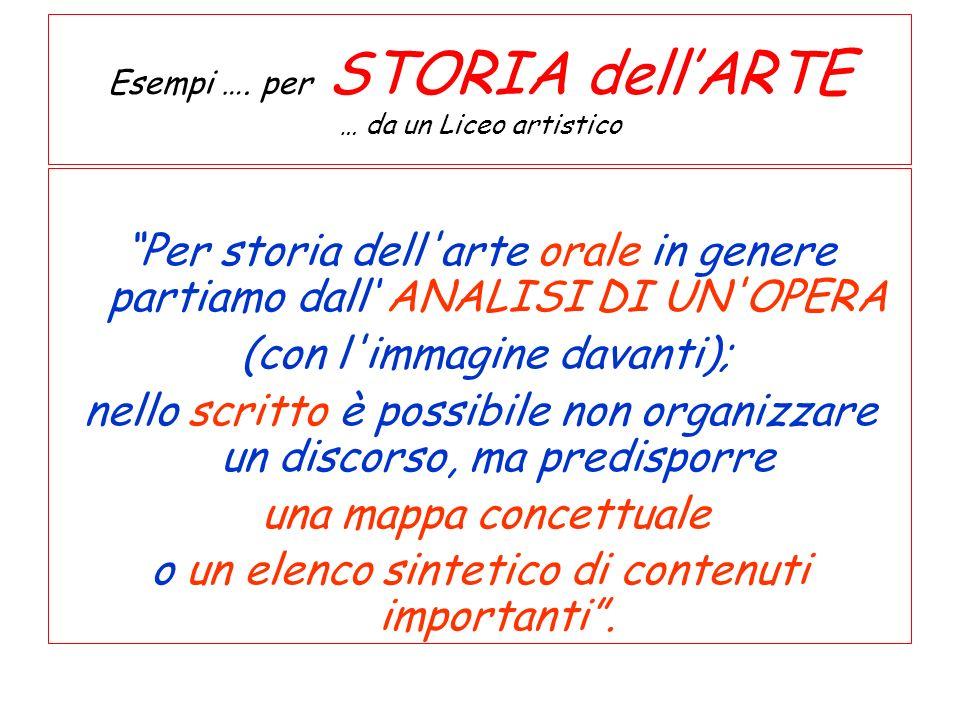 Esempi …. per STORIA dellARTE … da un Liceo artistico Per storia dell'arte orale in genere partiamo dall ANALISI DI UN'OPERA (con l'immagine davanti);