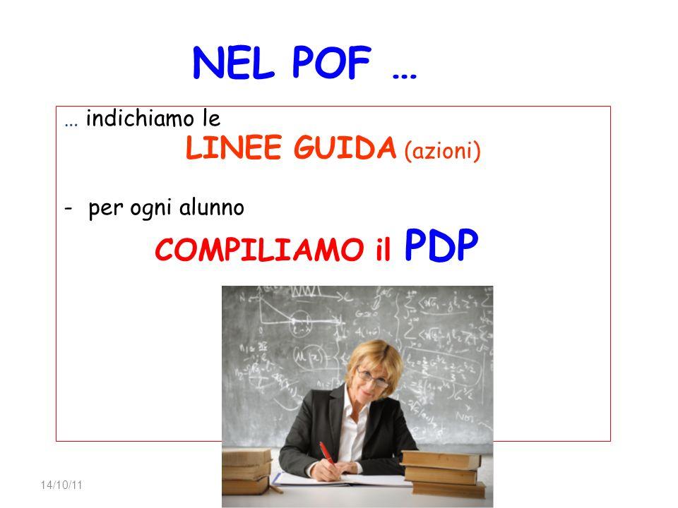 AID Torino NEL POF … … indichiamo le LINEE GUIDA (azioni) -per ogni alunno COMPILIAMO il PDP 14/10/11