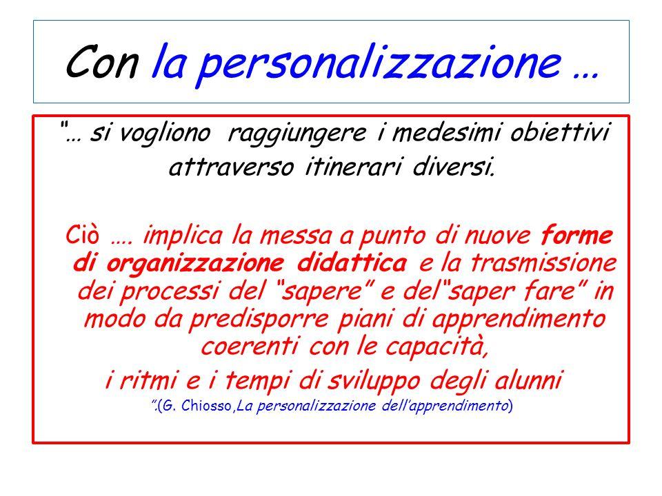 Con la personalizzazione … … si vogliono raggiungere i medesimi obiettivi attraverso itinerari diversi. Ciò …. implica la messa a punto di nuove forme