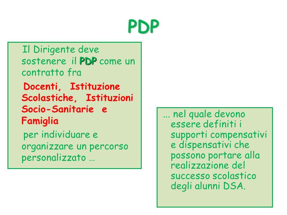 PDP PDP Il Dirigente deve sostenere il PDP come un contratto fra Docenti, Istituzione Scolastiche, Istituzioni Socio-Sanitarie e Famiglia per individuare e organizzare un percorso personalizzato …...