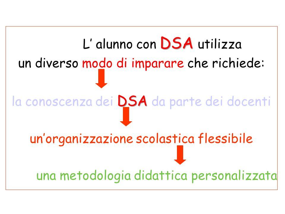 DSA L alunno con DSA utilizza un diverso modo di imparare che richiede: DSA la conoscenza dei DSA da parte dei docenti unorganizzazione scolastica flessibile una metodologia didattica personalizzata