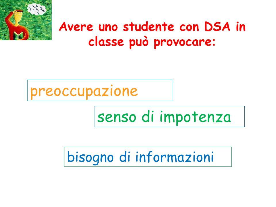 Avere uno studente con DSA in classe può provocare : preoccupazione senso di impotenza bisogno di informazioni