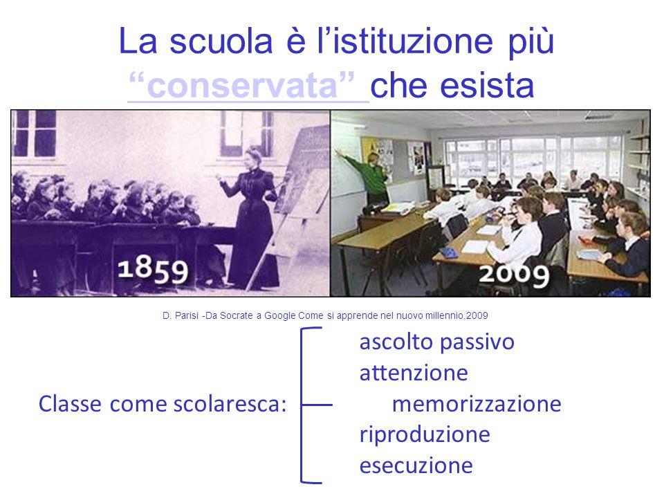 La scuola è listituzione più conservata che esista conservata D. Parisi -Da Socrate a Google Come si apprende nel nuovo millennio,2009 ascolto passivo