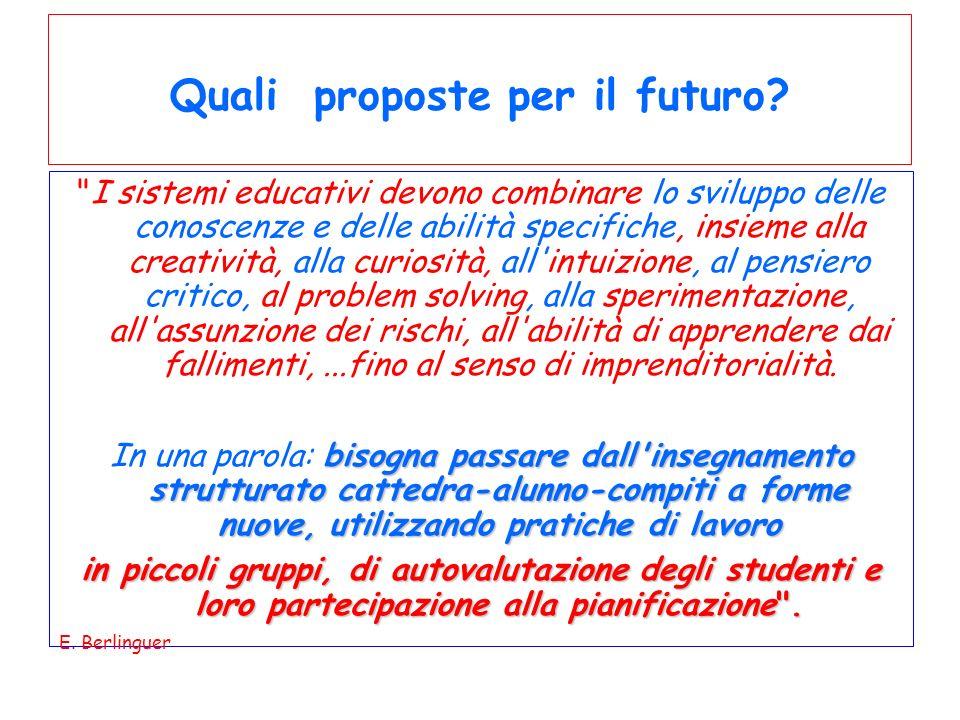 Quali proposte per il futuro.