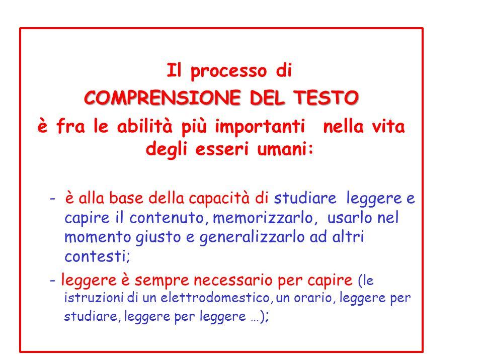 Il processo di COMPRENSIONE DEL TESTO è fra le abilità più importanti nella vita degli esseri umani: - è alla base della capacità di studiare leggere