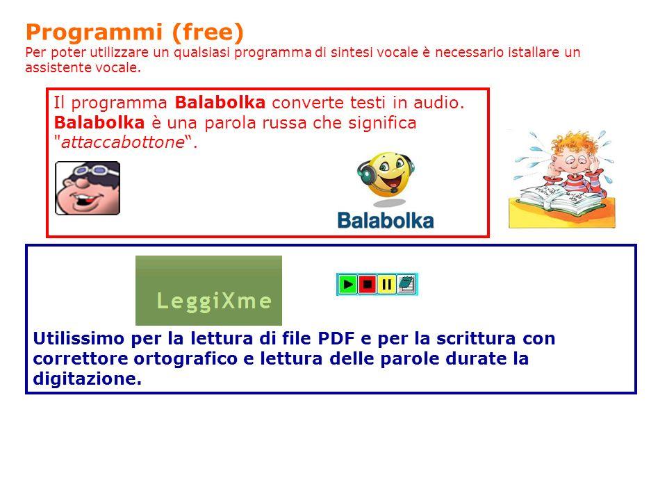 Il programma Balabolka converte testi in audio. Balabolka è una parola russa che significa