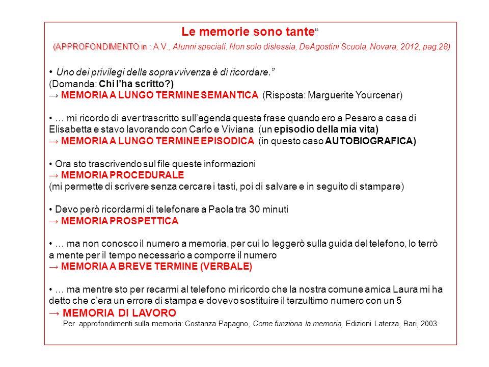 Le memorie sono tante (APPROFONDIMENTO in : (APPROFONDIMENTO in : A.V., Alunni speciali. Non solo dislessia, DeAgostini Scuola, Novara, 2012, pag.28)