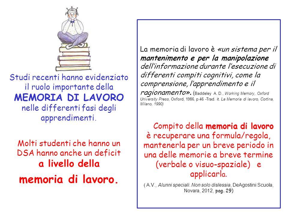 Studi recenti hanno evidenziato il ruolo importante della MEMORIA DI LAVORO nelle differenti fasi degli apprendimenti. Molti studenti che hanno un DSA