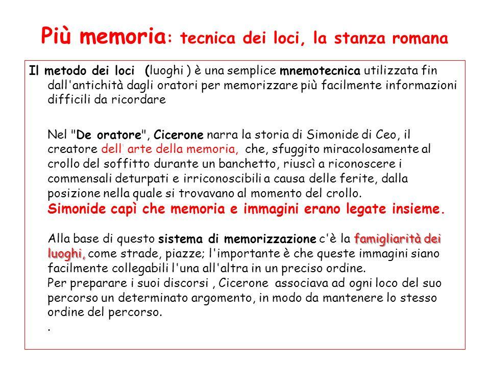 Più memoria : tecnica dei loci, la stanza romana Il metodo dei loci (luoghi ) è una semplice mnemotecnica utilizzata fin dall'antichità dagli oratori