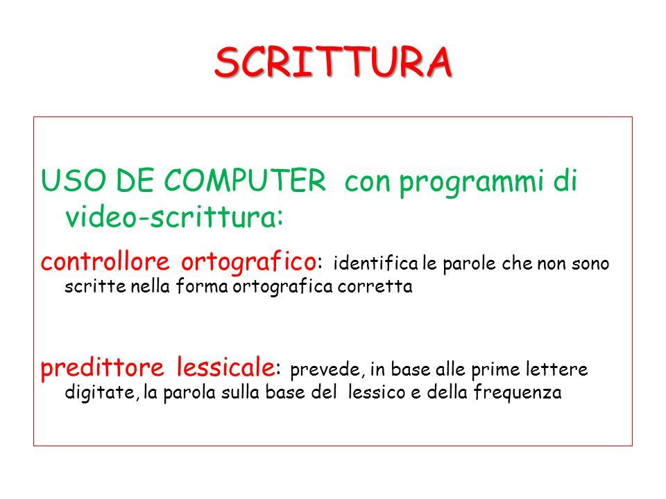 SCRITTURA USO DE COMPUTER con programmi di video-scrittura: controllore ortografico : identifica le parole che non sono scritte nella forma ortografic