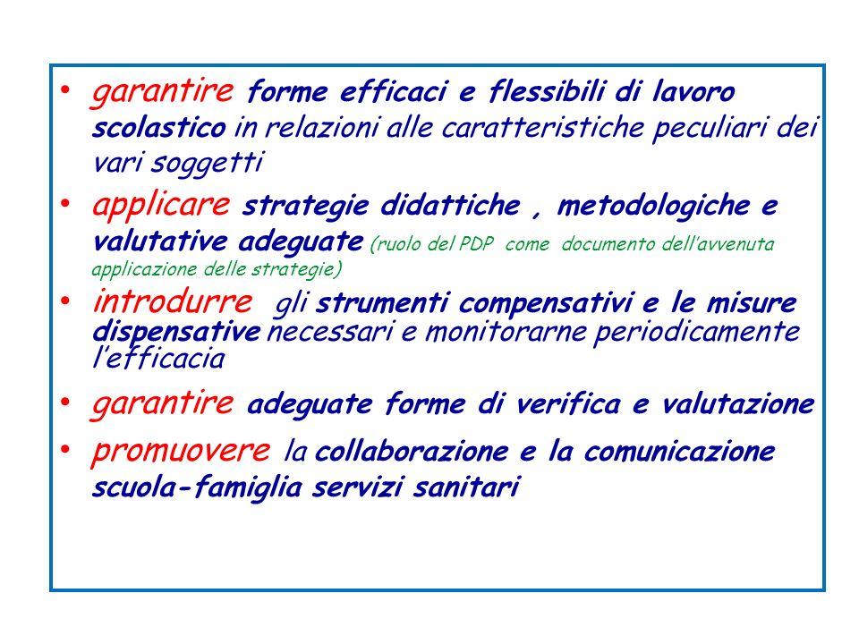 garantire forme efficaci e flessibili di lavoro scolastico in relazioni alle caratteristiche peculiari dei vari soggetti applicare strategie didattich