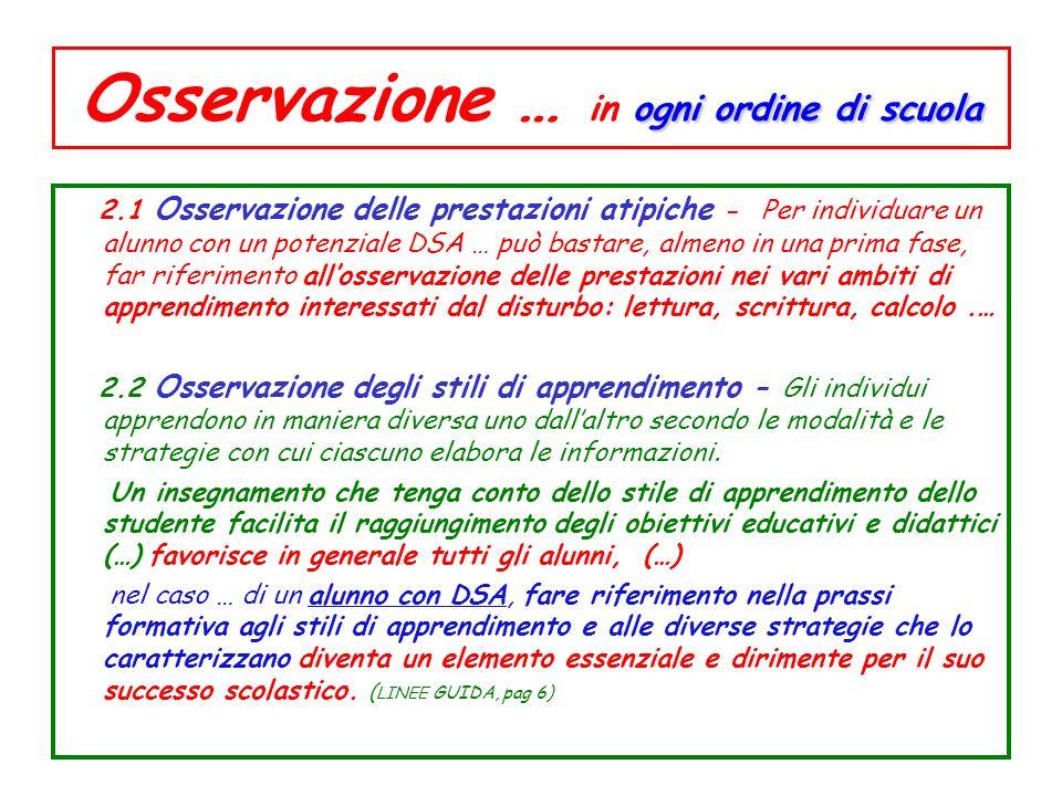 ogni ordine di scuola Osservazione … in ogni ordine di scuola 2.1 Osservazione delle prestazioni atipiche - Per individuare un alunno con un potenzial