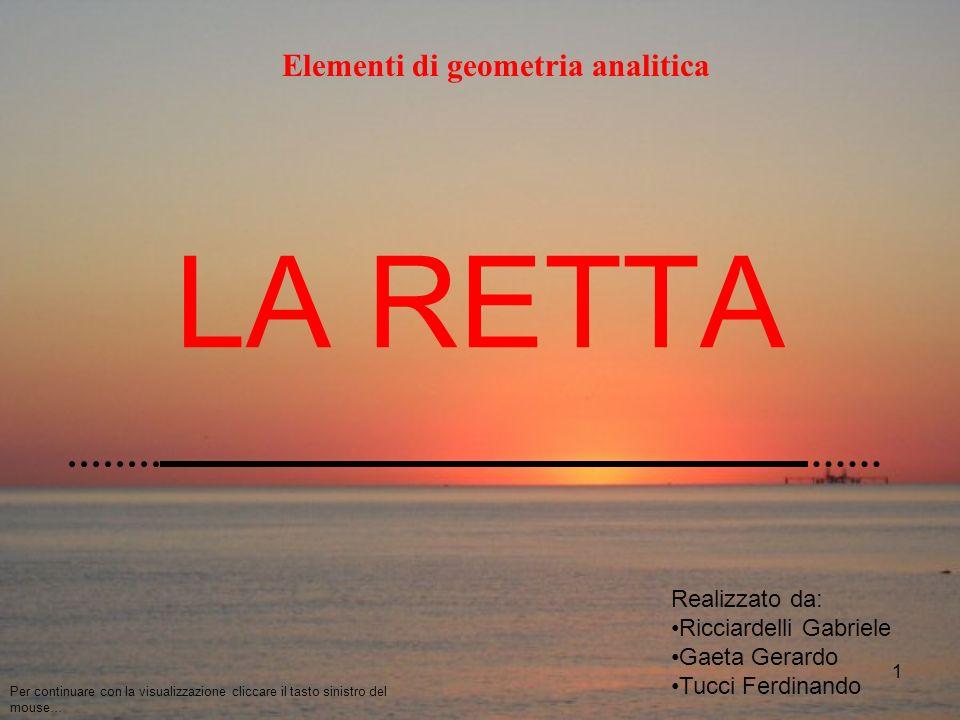 1 LA RETTA Elementi di geometria analitica Realizzato da: Ricciardelli Gabriele Gaeta Gerardo Tucci Ferdinando Per continuare con la visualizzazione cliccare il tasto sinistro del mouse…