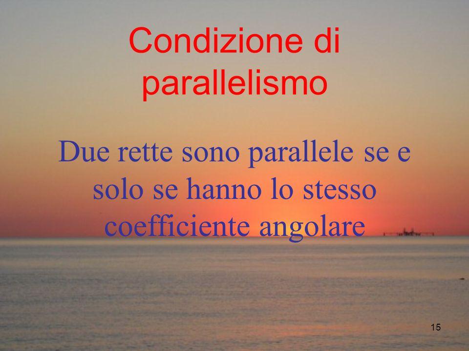 15 Condizione di parallelismo Due rette sono parallele se e solo se hanno lo stesso coefficiente angolare