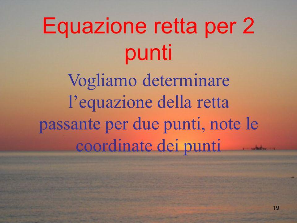 19 Equazione retta per 2 punti Vogliamo determinare lequazione della retta passante per due punti, note le coordinate dei punti