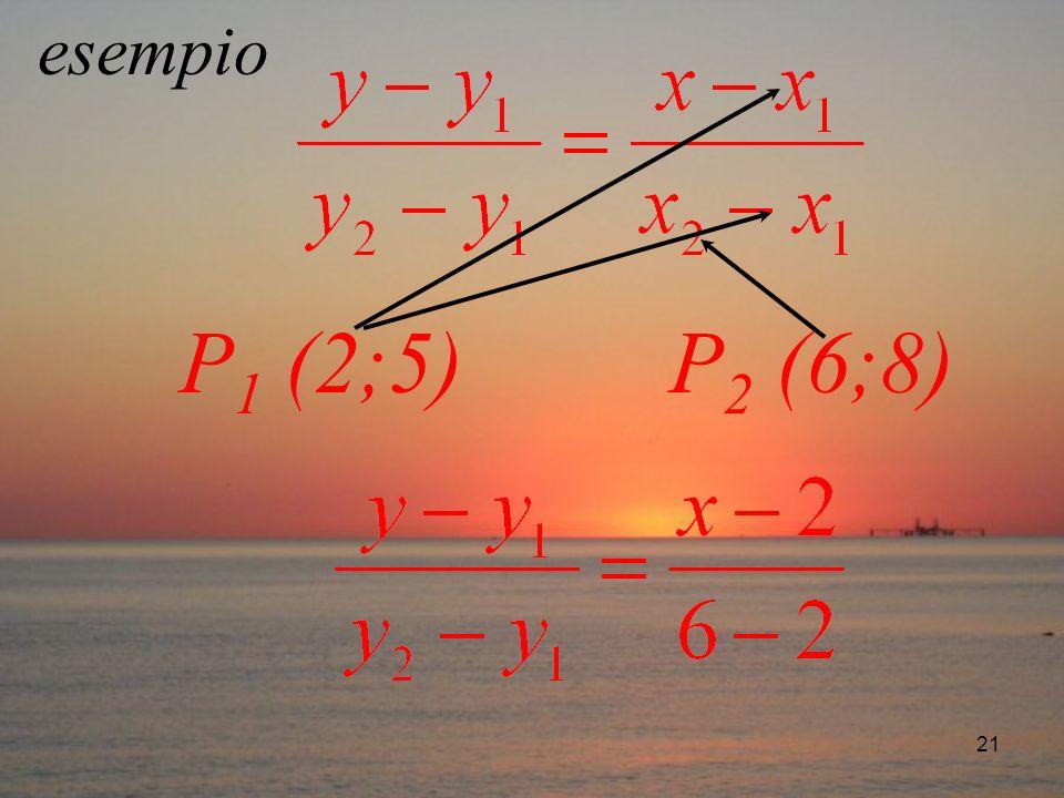 21 esempio P 1 (2;5) P 2 (6;8)
