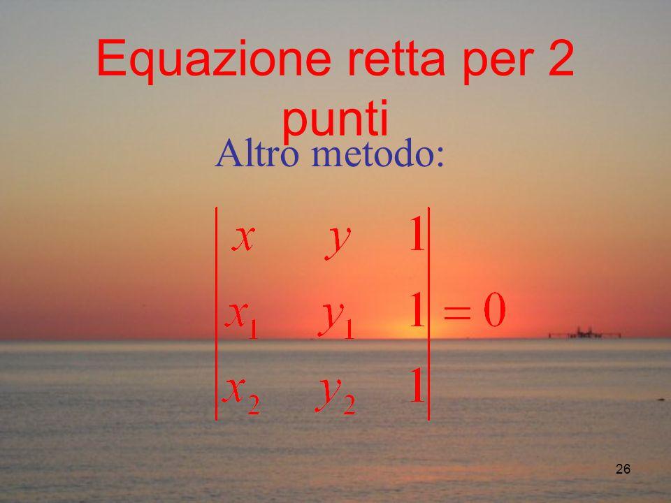 26 Equazione retta per 2 punti Altro metodo: