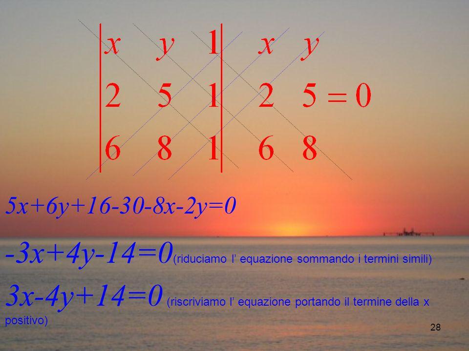 28 5x+6y+16-30-8x-2y=0 -3x+4y-14=0 (riduciamo l equazione sommando i termini simili) 3x-4y+14=0 (riscriviamo l equazione portando il termine della x positivo)