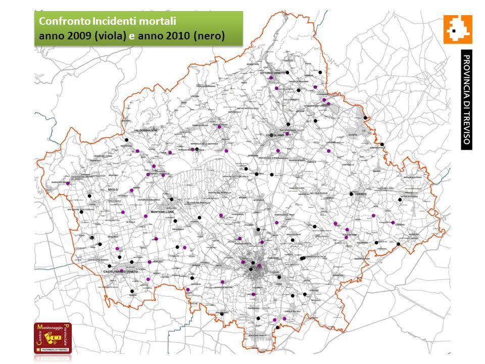 Confronto Incidenti mortali anno 2009 (viola) e anno 2010 (nero) Confronto Incidenti mortali anno 2009 (viola) e anno 2010 (nero)