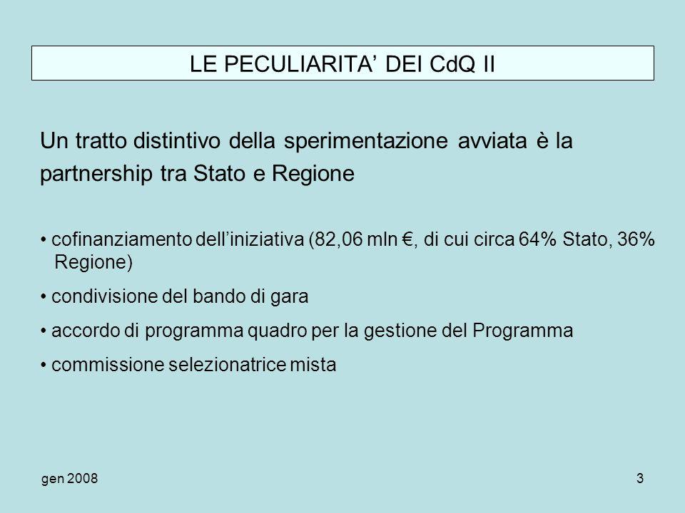 gen 20083 LE PECULIARITA DEI CdQ II Un tratto distintivo della sperimentazione avviata è la partnership tra Stato e Regione cofinanziamento dellinizia
