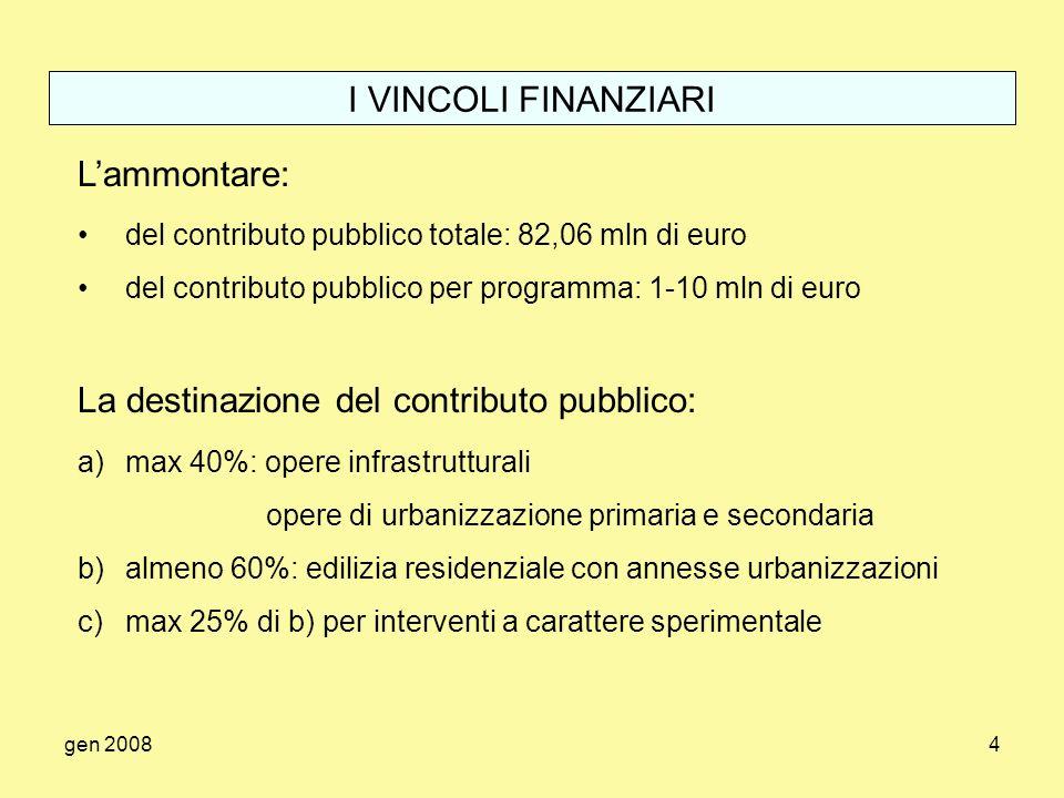 gen 20084 I VINCOLI FINANZIARI Lammontare: del contributo pubblico totale: 82,06 mln di euro del contributo pubblico per programma: 1-10 mln di euro L