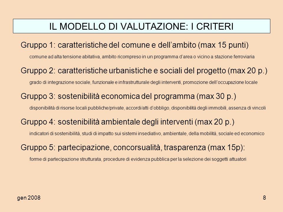 gen 20088 IL MODELLO DI VALUTAZIONE: I CRITERI Gruppo 1: caratteristiche del comune e dellambito (max 15 punti) comune ad alta tensione abitativa, amb