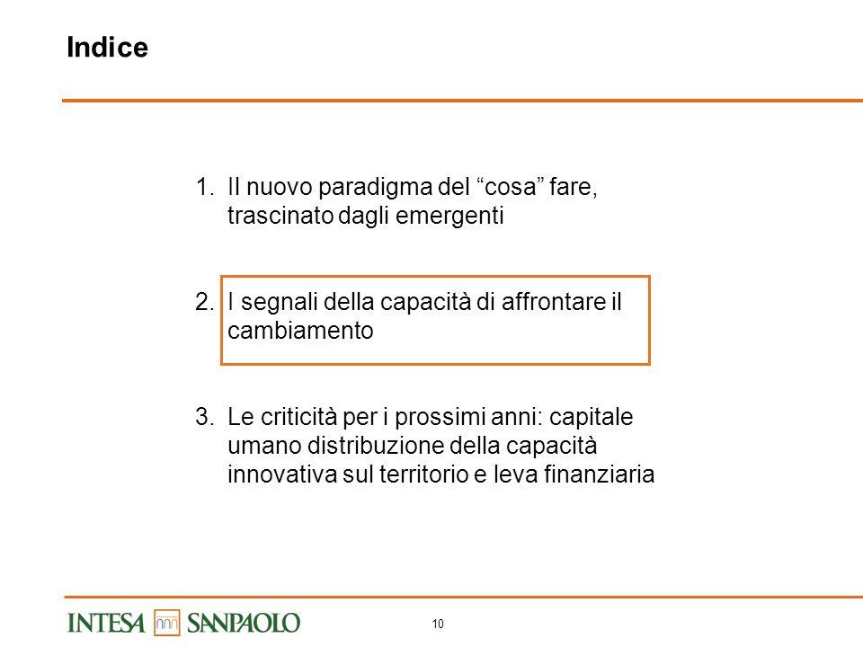 9 Divisione del lavoro a livello internazionale in continua ridefinizione Asse dei prodotti Asse delle fasi del processo Asse del contenuto di capital