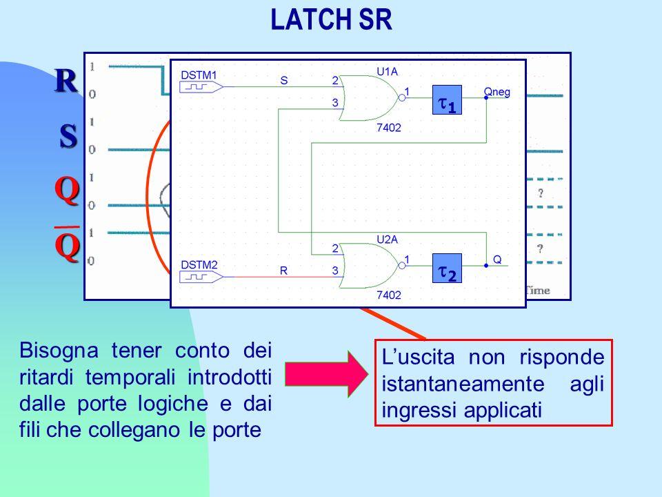 Bisogna tener conto dei ritardi temporali introdotti dalle porte logiche e dai fili che collegano le porte Luscita non risponde istantaneamente agli i