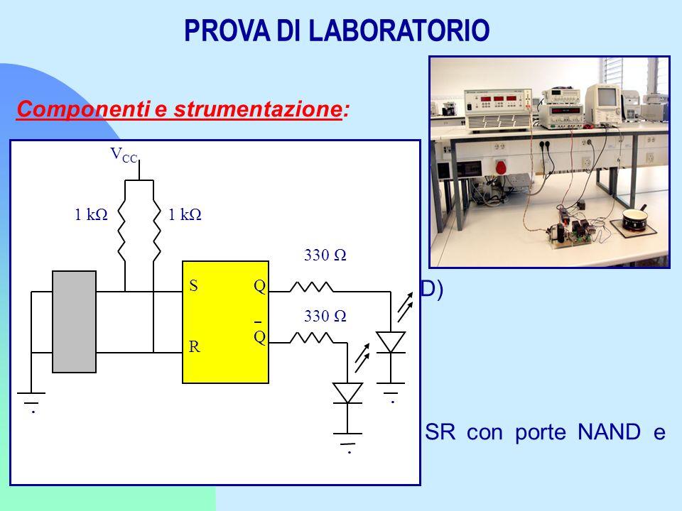 PROVA DI LABORATORIO Componenti e strumentazione: Generatore di funzioni Oscilloscopio digitale a doppia traccia Basetta 2 Diodi Led Integrati 74LS02