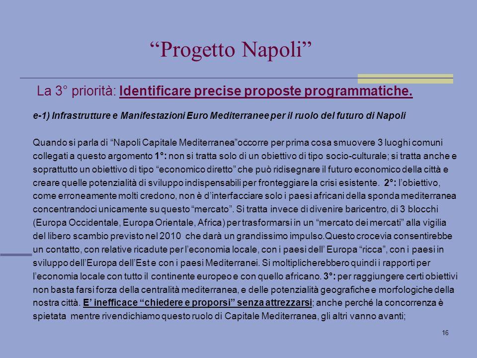 16 La 3° priorità: Identificare precise proposte programmatiche.
