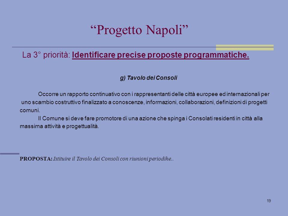 19 La 3° priorità: Identificare precise proposte programmatiche.