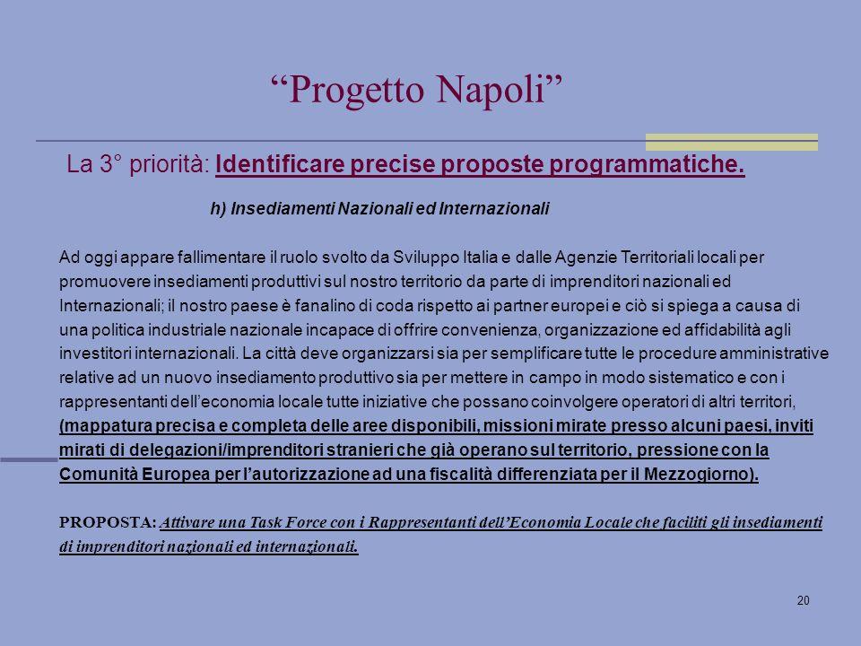 20 La 3° priorità: Identificare precise proposte programmatiche.