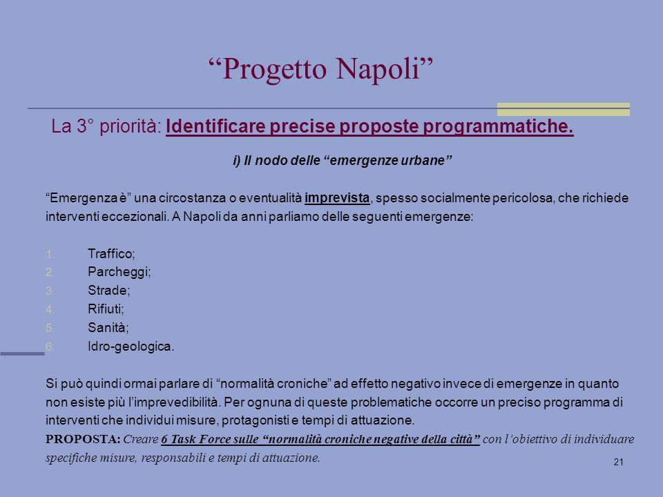 21 La 3° priorità: Identificare precise proposte programmatiche.