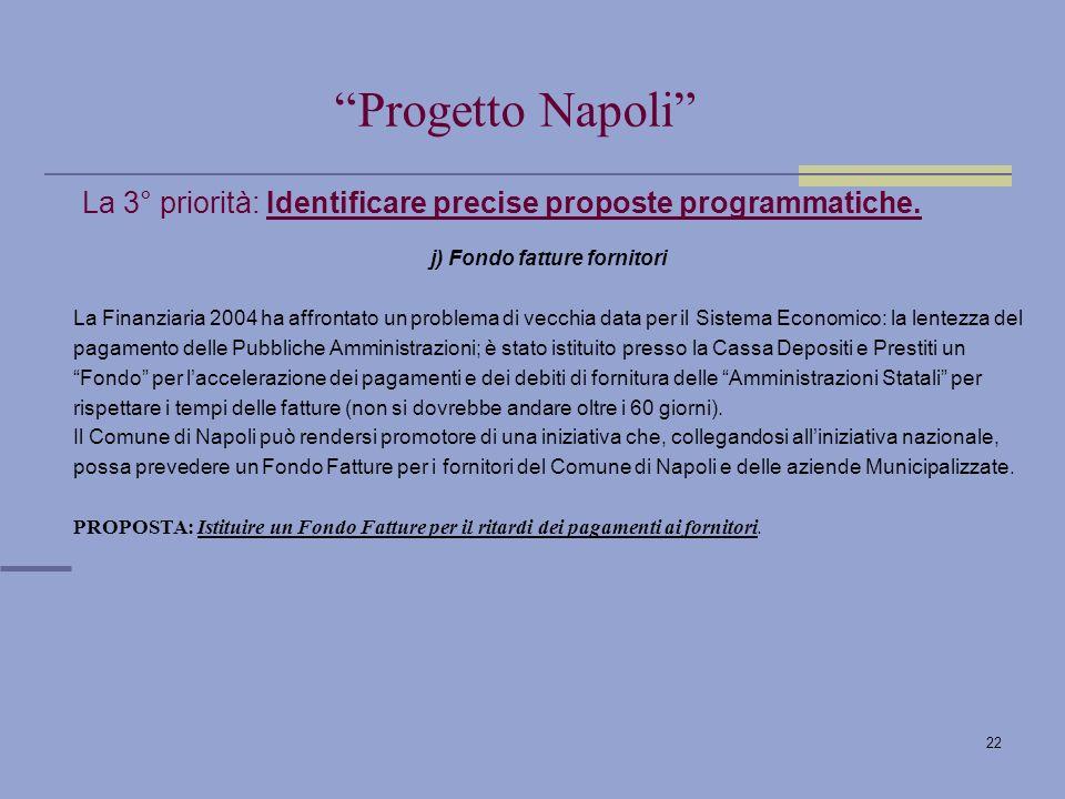22 La 3° priorità: Identificare precise proposte programmatiche.