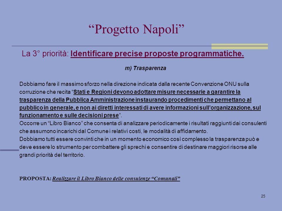 25 La 3° priorità: Identificare precise proposte programmatiche.