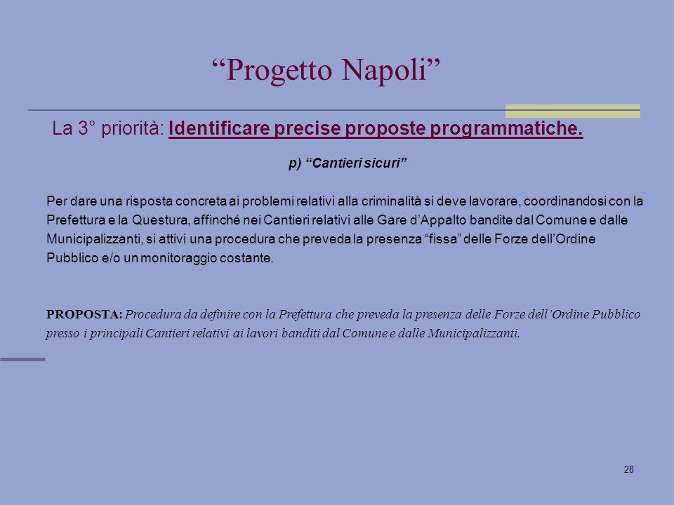 28 La 3° priorità: Identificare precise proposte programmatiche.
