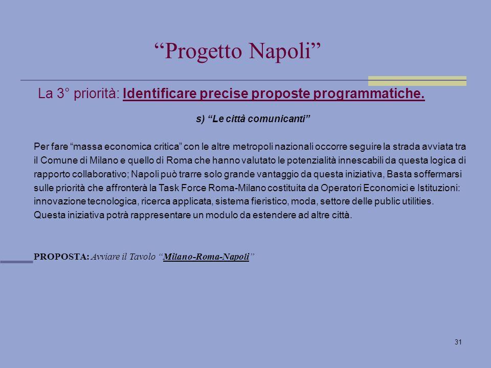 31 La 3° priorità: Identificare precise proposte programmatiche.