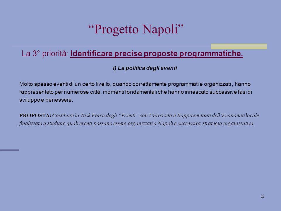 32 La 3° priorità: Identificare precise proposte programmatiche.