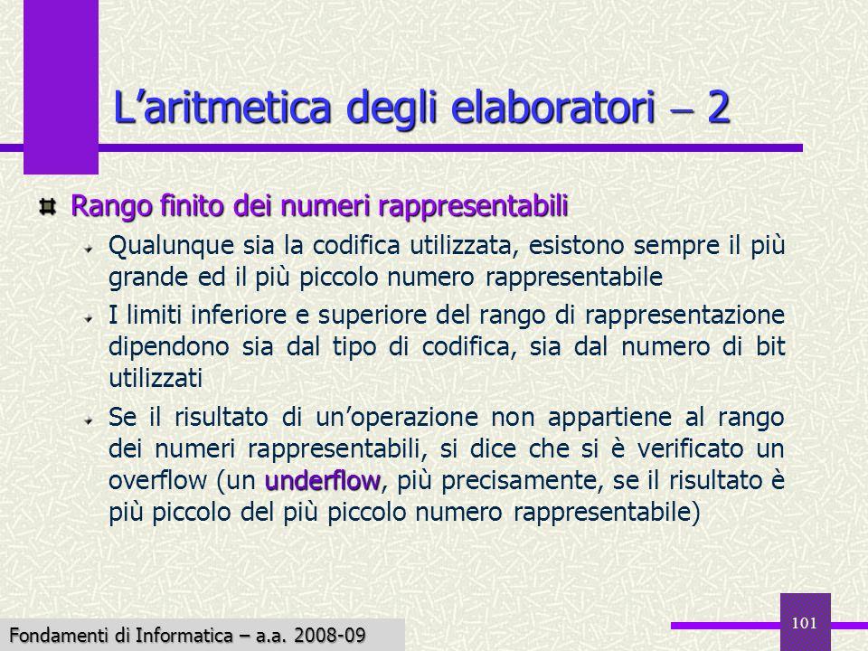 Fondamenti di Informatica I a.a. 2007-08 101 Rango finito dei numeri rappresentabili Qualunque sia la codifica utilizzata, esistono sempre il più gran