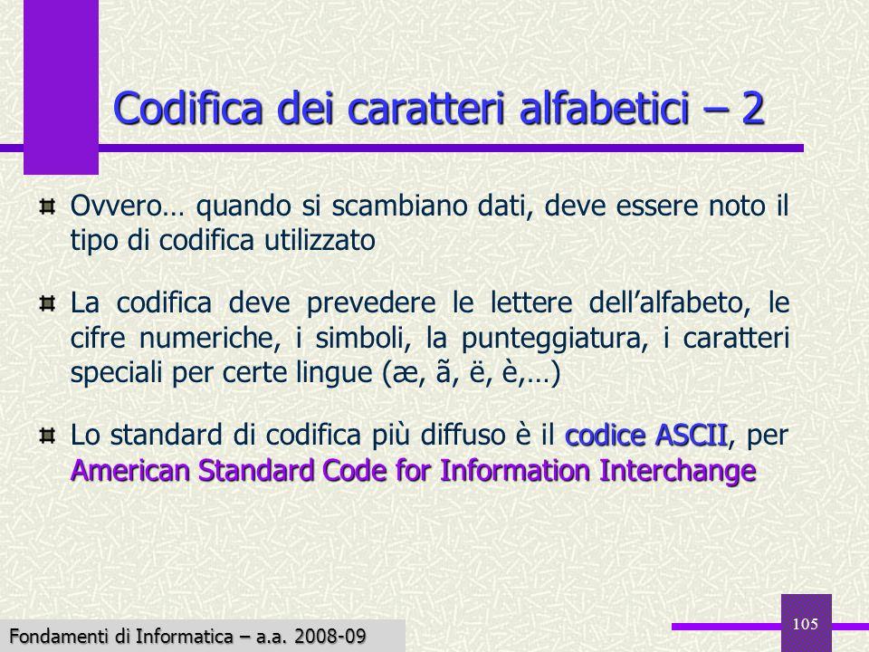 Fondamenti di Informatica I a.a. 2007-08 105 Codifica dei caratteri alfabetici – 2 Ovvero… quando si scambiano dati, deve essere noto il tipo di codif