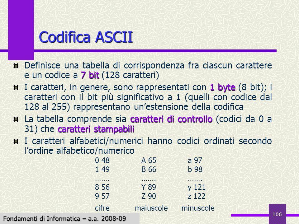 Fondamenti di Informatica I a.a. 2007-08 106 Codifica ASCII 7 bit Definisce una tabella di corrispondenza fra ciascun carattere e un codice a 7 bit (1